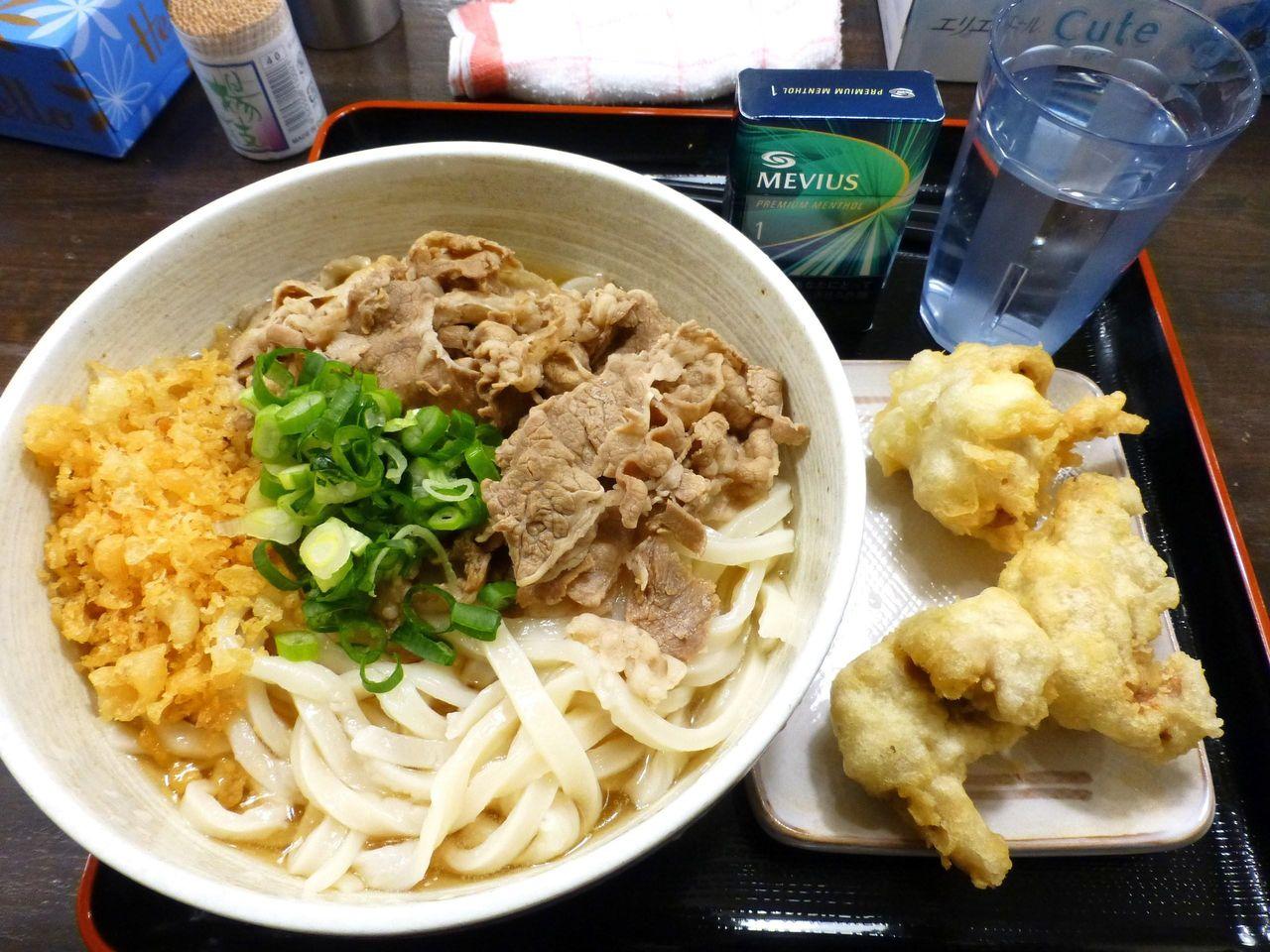 肉ぶっかけ(大盛)600円+とり天100円