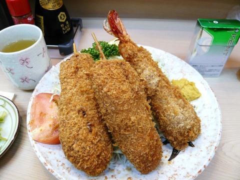 まるはち 串カツと海老定食1