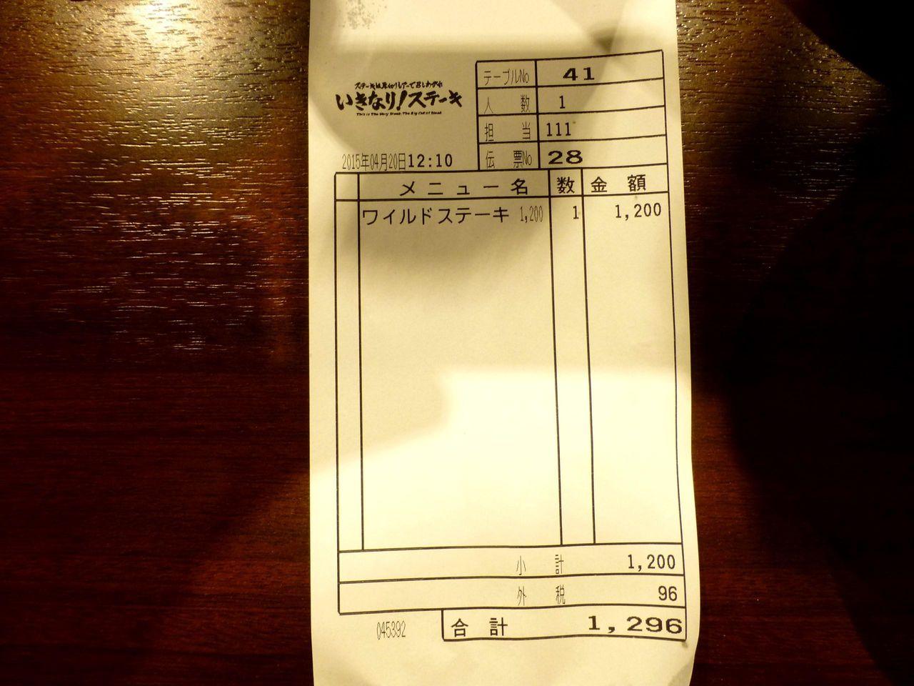 ワイルドステーキ300グラムは、税込みで1,296円!