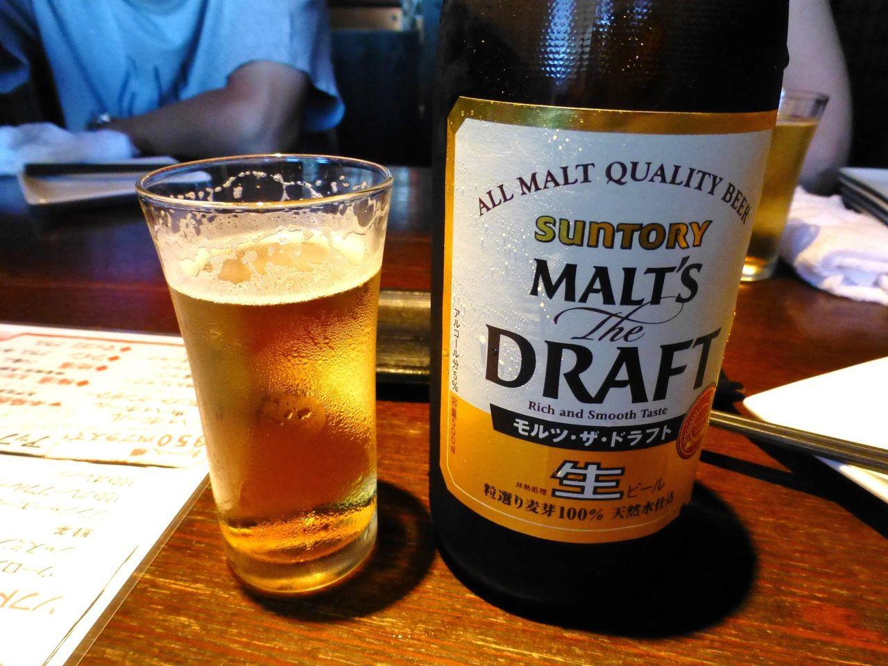 とりあえず、瓶ビールで乾杯!