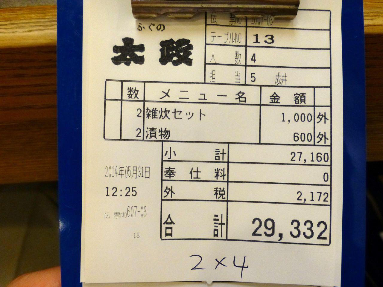 大人4人が飲食して、お会計は29,332円(1人約7,300円)