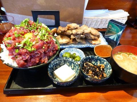 はざま メカジキ定食+小丼