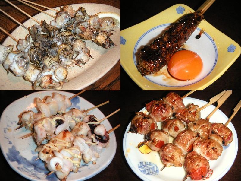 つくね卵、トマト巻き、紋甲イカ、つぶ貝