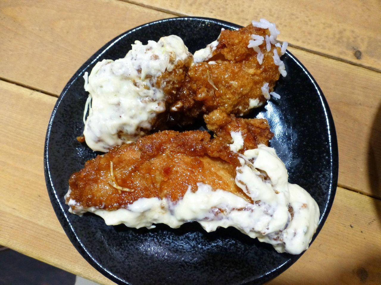鶏モモ肉を使用した長い唐揚げ!