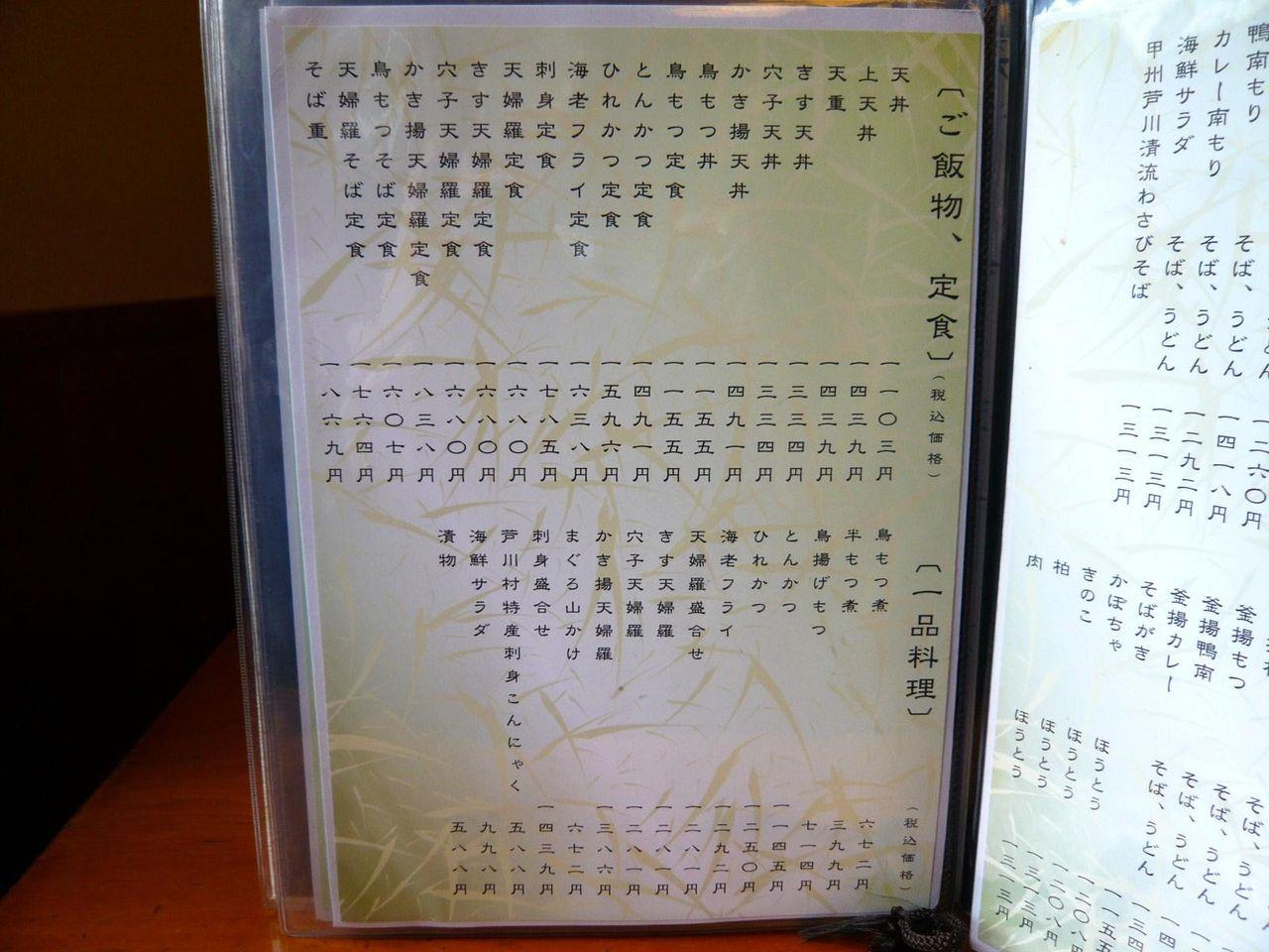 川田奥藤第二分店のメニュー(23年5月現在)