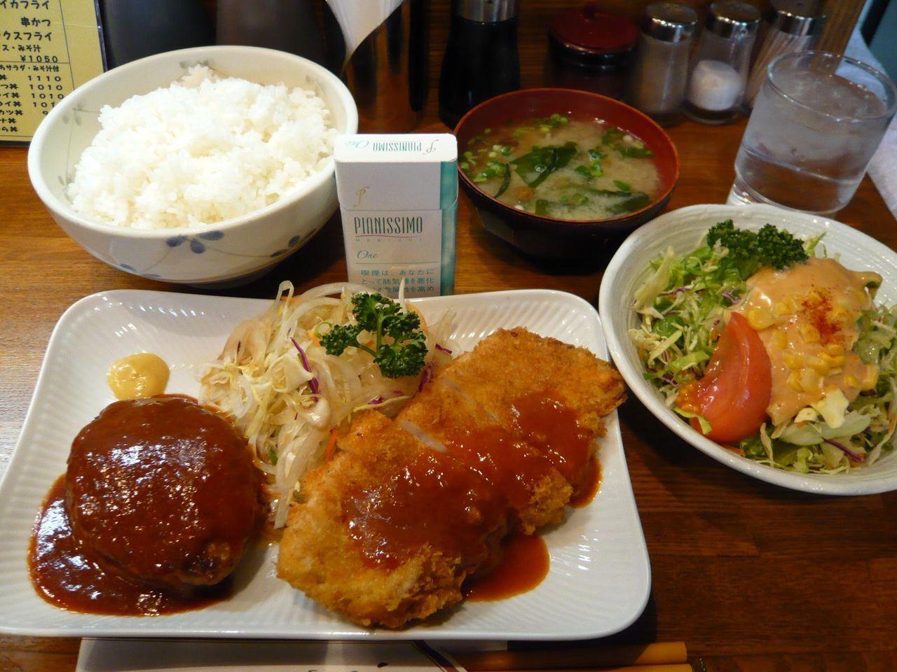 牛ハンバーグとトンカツセット(大盛)1,150円