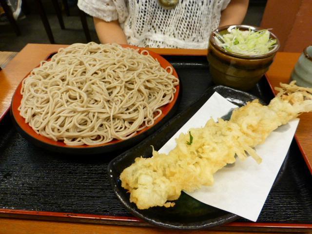 もりそば300円+穴子天ぷら150円