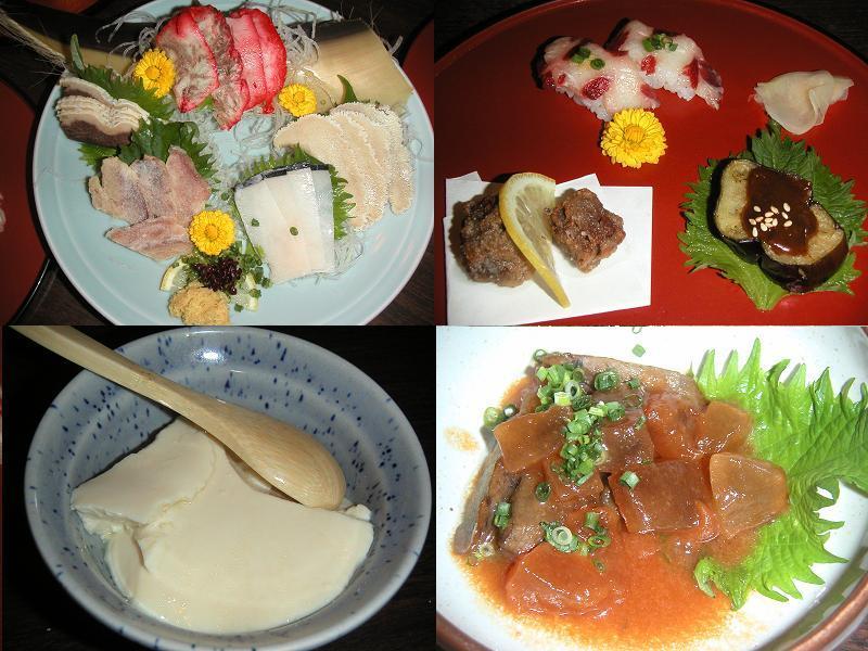 鯨刺身(ベーコン、本皮、さえずり、長根、百尋)、鯨鹿ノ子寿司、鯨赤身立田揚げ、べいナス、鯨すじ肉ごぼう煮、おぼろ豆腐