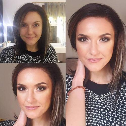 女性の化粧をする前と後の画像(13枚目)