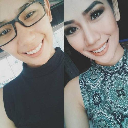女性の化粧をする前と後の画像(3枚目)
