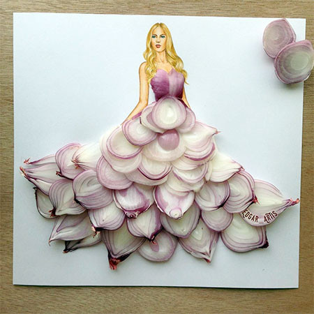 食べ物をドレスに見立てたイラストの画像(3枚目)