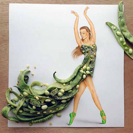 食べ物をドレスに見立てたイラストの画像(10枚目)