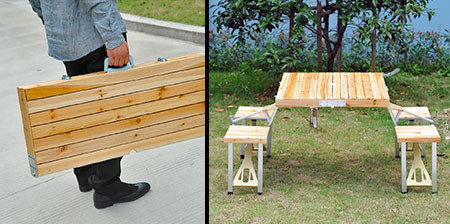【画像】持ち運び簡単!鞄のように片手でもてる机と椅子のセット!!の画像(1枚目)
