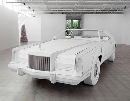 紙だけで再現した自動車の画像(1枚目)
