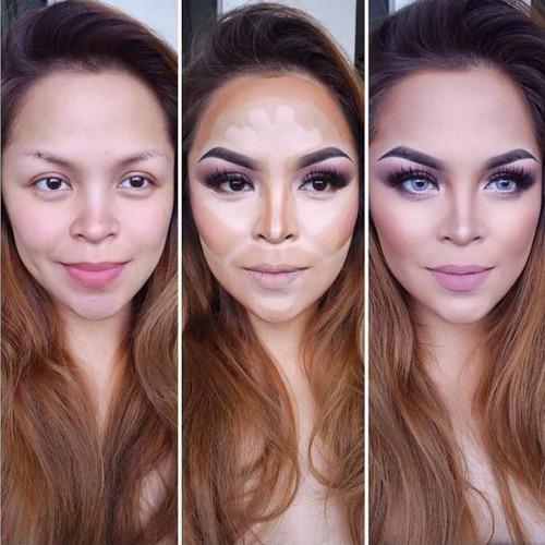 女性の化粧をする前と後の画像(5枚目)