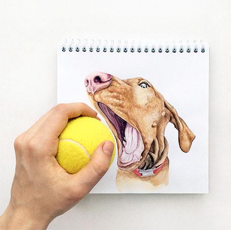 犬の絵が小道具1つで生きてるように見える!!の画像(2枚目)