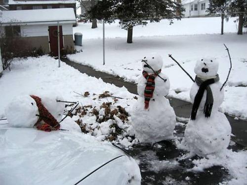 面白い雪だるまの画像(10枚目)