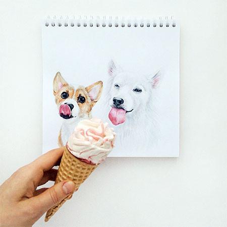犬の絵が小道具1つで生きてるように見える!!の画像(8枚目)