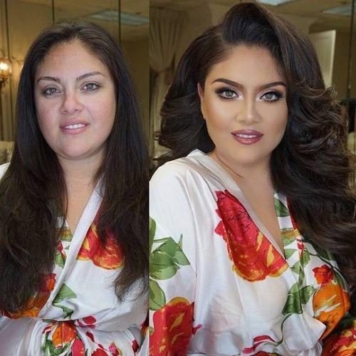 女性の化粧をする前と後の画像(25枚目)