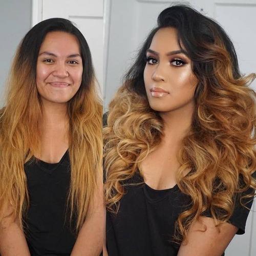 女性の化粧をする前と後の画像(1枚目)
