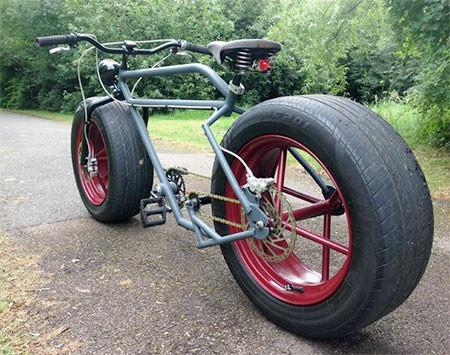 自動車のタイヤを履いた自転車の画像(9枚目)