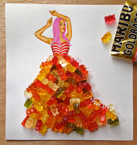 食べ物をドレスに見立てたイラストの画像(9枚目)