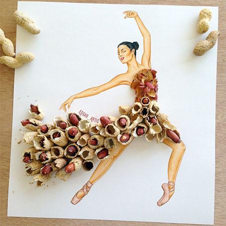 食べ物をドレスに見立てたイラストの画像(4枚目)