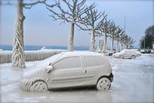 凍っている自動車の画像(8枚目)