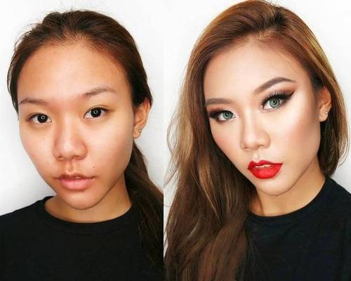 女性の化粧をする前と後の画像(11枚目)
