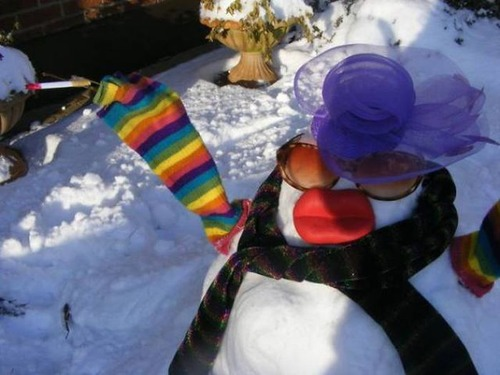 面白い雪だるまの画像(2枚目)