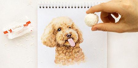 犬の絵が小道具1つで生きてるように見える!!の画像(1枚目)