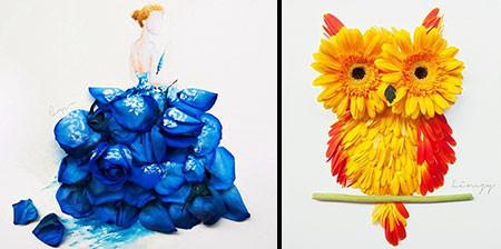 本物の花で描いたアートが華やかで癒される!!の画像(1枚目)