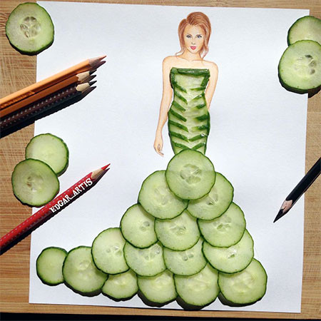 食べ物をドレスに見立てたイラストの画像(14枚目)