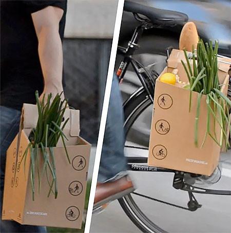 地球に優しい!手で持って運べる自転車用のバック!!の画像(4枚目)