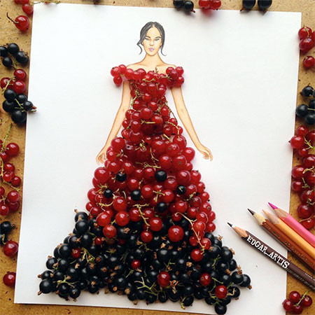 食べ物をドレスに見立てたイラストの画像(15枚目)