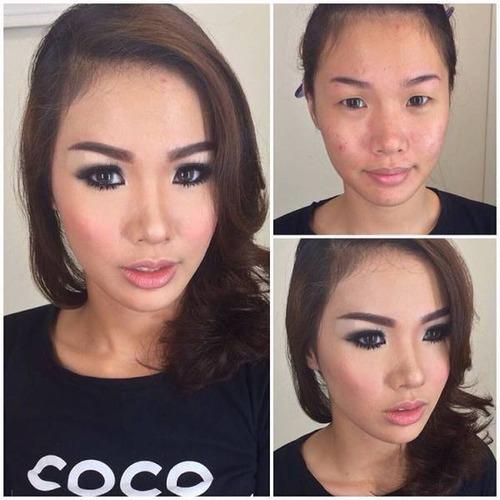 女性の化粧をする前と後の画像(27枚目)