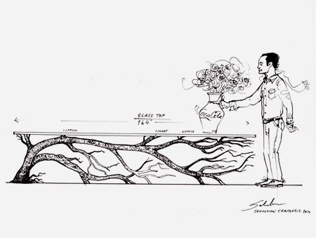 木の枝や幹がそのまま支えるテーブルの画像(1枚目)