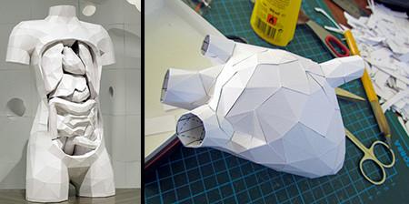 紙を使ったペーパークラフトの人体模型がなんだか凄い!!の画像(1枚目)