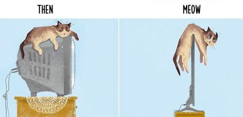 テクノロジーの進化がネコ達に与えた影響の比較画像の数々!!の画像(1枚目)