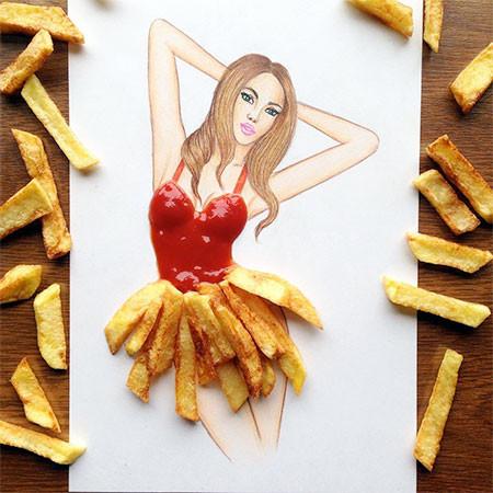 食べ物をドレスに見立てたイラストの画像(7枚目)