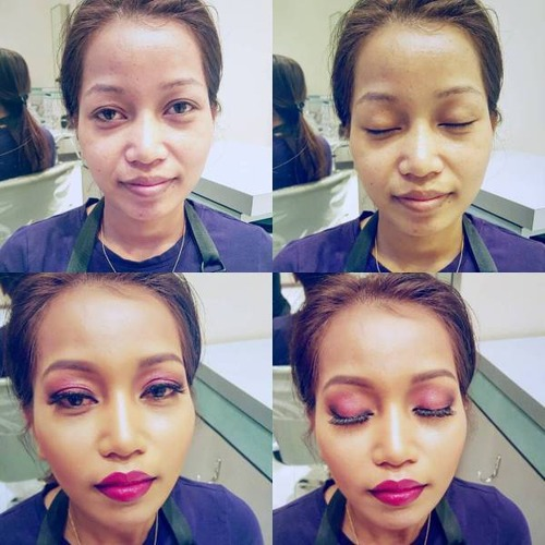 女性の化粧をする前と後の画像(7枚目)