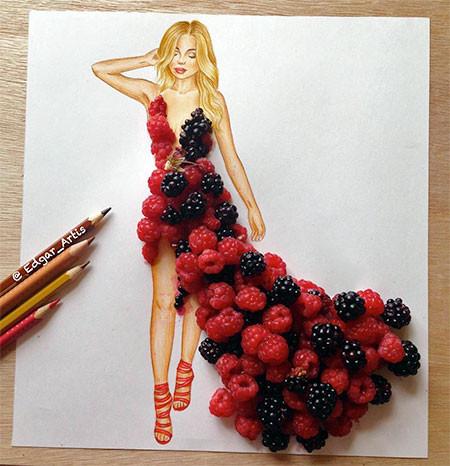食べ物をドレスに見立てたイラストの画像(1枚目)