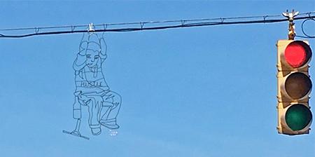 空に絵を描くワイヤーアート01