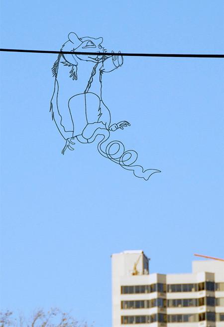 空に絵を描くワイヤーアート03