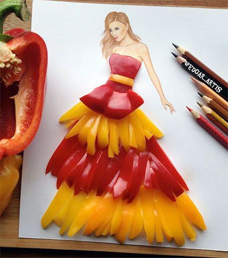 食べ物をドレスに見立てたイラストの画像(5枚目)
