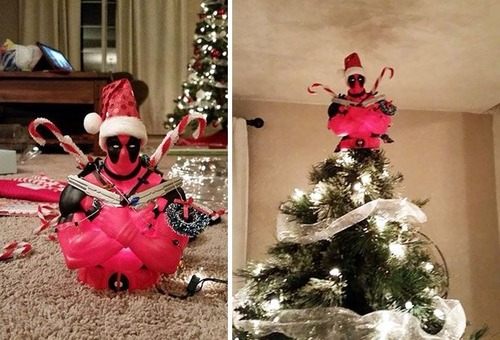カオスなクリスマスツリーの上の飾りの画像(1枚目)