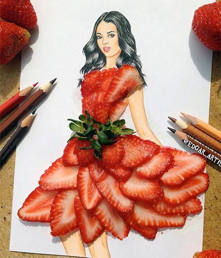 食べ物をドレスに見立てたイラストの画像(13枚目)