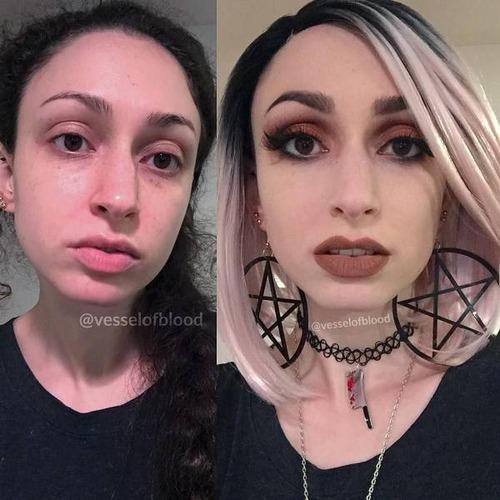 女性の化粧をする前と後の画像(10枚目)