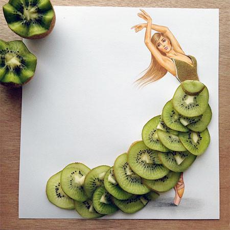 食べ物をドレスに見立てたイラストの画像(8枚目)