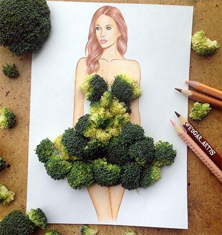 食べ物をドレスに見立てたイラストの画像(2枚目)
